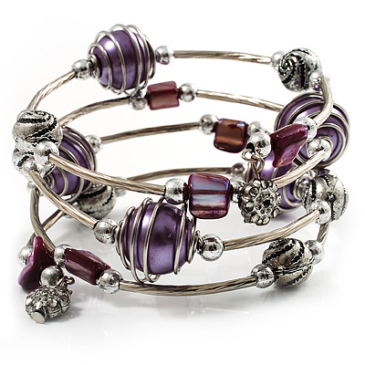 Silver-Tone Beaded Multistrand Flex Bracelet (Purple) - main view