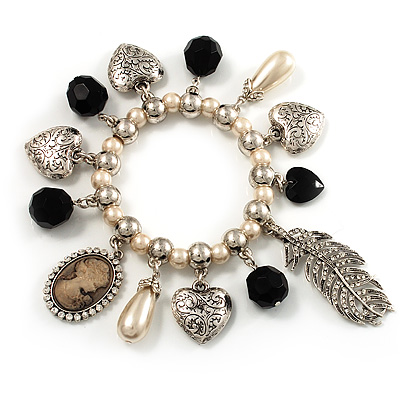 'Cameo, Feather, Heart & Simulated Pearl Beads' Charm Flex Bracelet (Silver Tone) - main view
