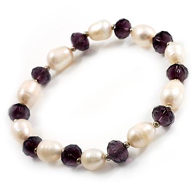 Light Cream Freshwater Pearl & Purple Glass Bead Flex Bracelet -19cm Length - main view