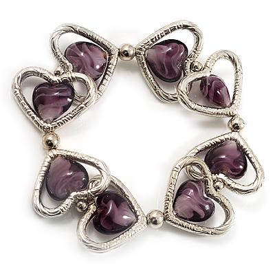 Silver Tone Heart Purple Glass Bead Flex Bracelet -18cm Length
