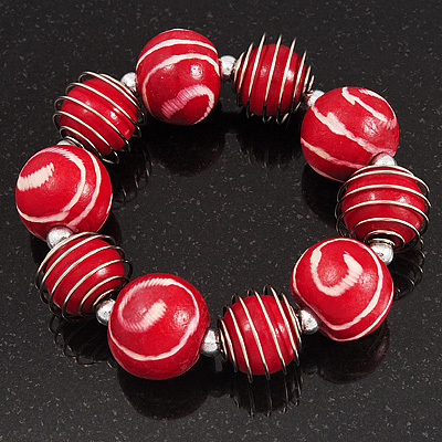Red & White Wood Bead Flex Bracelet - 19cm Length - main view