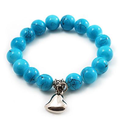 Turquoise Bead Charm Heart Flex Bracelet -21cm Length - main view