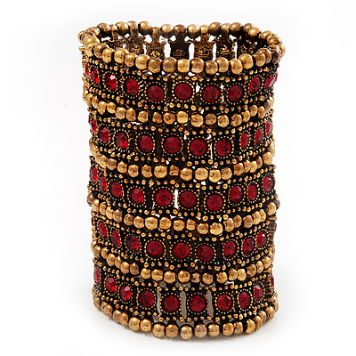 Wide Red Crystal Egyptian Style Flex Bracelet (Burn Gold Tone Finish) - 8cm Width - main view