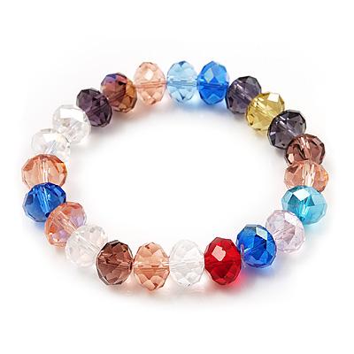 Multicoloued Glass Flex Bracelet - 18cm Length