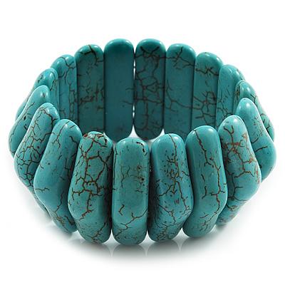 Wide Turquoise Stone Flex Bracelet - 18cm Length - main view