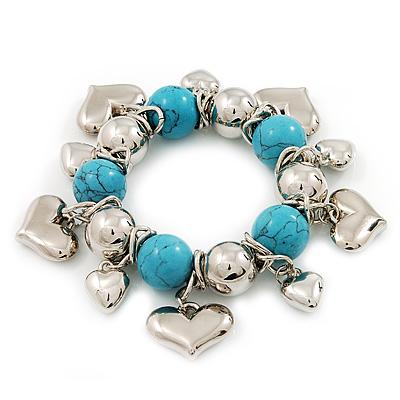 Chunky Flex Metal & Turquoise Bead 'Heart' Charm Bracelet - main view