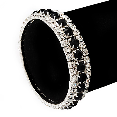 Black & Clear Swarovski Crystal Flex Bracelet (Silver Tone Metal) - 18cm Length