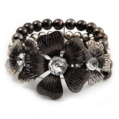 3 Strand Floral Bead Flex Bracelet (Gun Metal/ Antique Silver Finish) - 19cm Length