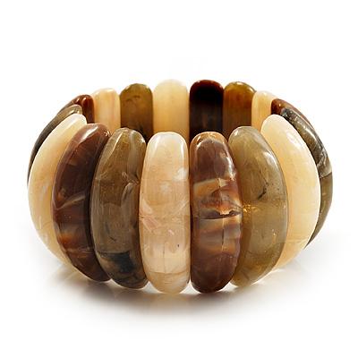 Wide Khaki-Coloured Resin Flex Bracelet -18cm Length