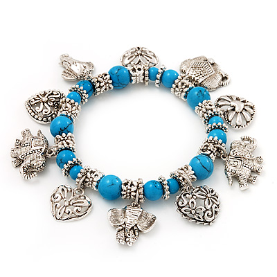 'Heart & Elephant' Turquoise Bead Charm Flex Bracelet (Silver Plated Metal)