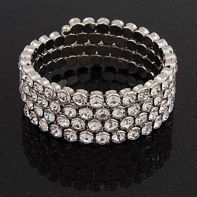 Bridal Clear CZ Wrap Bangle Bracelet - Adjustable - main view