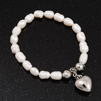 White Freshwater Pearl Silver Metal 'Heart' Flex Bracelet (Up To 19cm Length) - main view