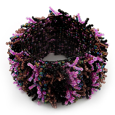 Wide Glass Bead Flex Bracelet (Black, Pink, Brown & Peacock) - up to 18cm Length