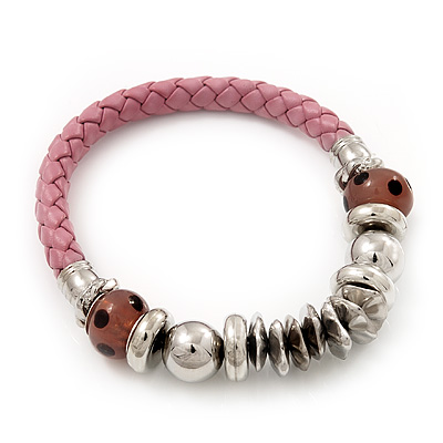 Silver Tone Metal Bead Pink Leather Flex Bracelet - up to 20cm Length - main view