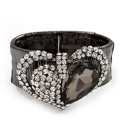 Diamante Heart Flex Bracelet In Gun Metal Finish - up to 18cm Length