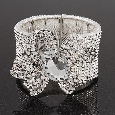 Avalaya Delicate Rose Gold Tone Crystal Bow Bangle Bracelet 18cm L