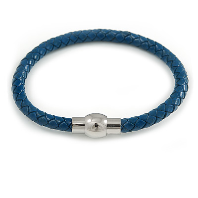 Navy Blue Leather Magnetic Bracelet -up to 20cm Length
