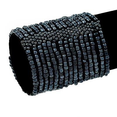 Wide Dark Grey Glass Bead Flex Bracelet - up to 19cm wrist - main view