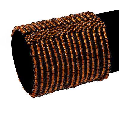 Wide Brown Glass Bead Flex Bracelet - up to 19cm wrist - main view