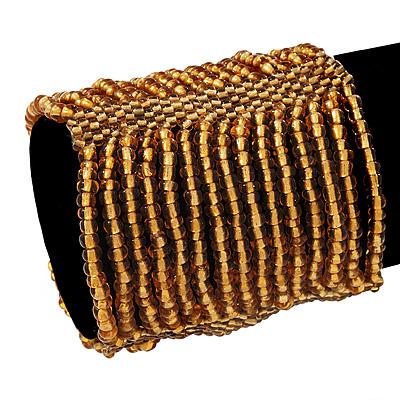 Wide Gold Glass Bead Flex Bracelet - up to 19cm wrist