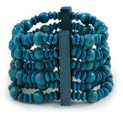 Teal Blue Multistrand Wood Bead Bracelet - up to 18cm wrist
