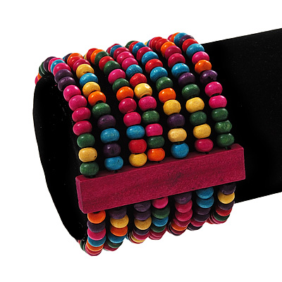 Multicoloured Multistrand Wood Bead Bracelet - up to 19cm wrist - main view