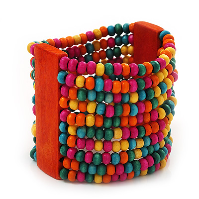 Wide Multicoloured Multistrand Wood Bead Bracelet - up to 20cm wrist - main view
