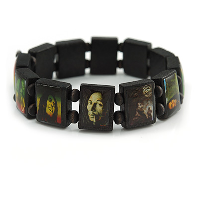 "Black Bob Marley ""One Love"" Wooden Stretch Bracelet - up to 20cm length - main view"