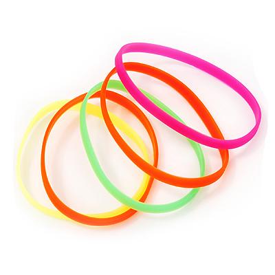 Stretchy Neon Rubber Bracelet Set - main view