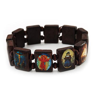 Dark Brown/ Black Wooden Religious Images Catholic Jesus Icon Saints Stretch Bracelet - up to 20cm length