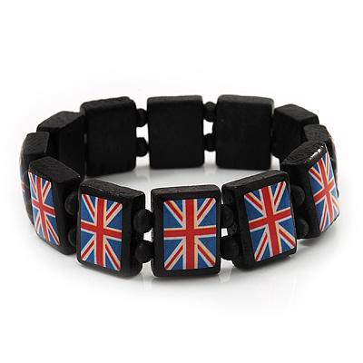 UK British Flag Union Jack Stretch Wooden Bracelet - up to 20cm length