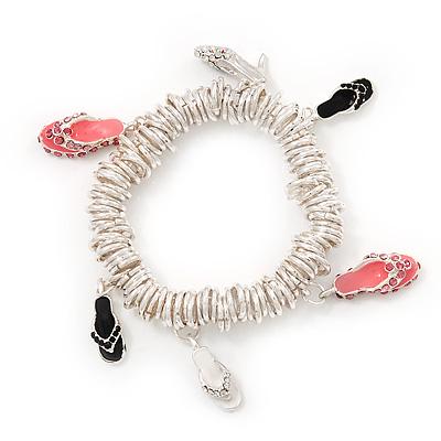 Silver Plated Metal Ring 'Shoe' Charm Flex Bracelet - 17cm Length