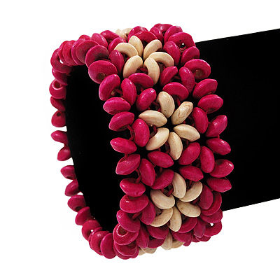 Fuchsia Floral Wood Bead Bracelet - up to 19cm wrist