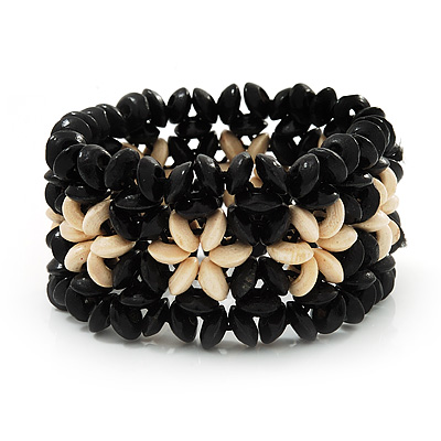 Black Floral Wood Bead Bracelet - up to 19cm wrist - main view