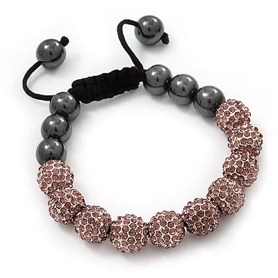 Pink Swarovski Crystal Balls & Smooth Round Hematite Beads Buddhist Bracelet - 10mm - Adjustable - main view