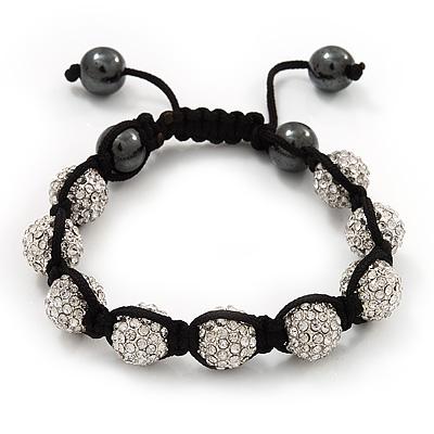 Unisex Clear Swarovski Crystal Balls & Smooth Round Hematite Beads Buddhist Bracelet - 10mm - Adjustable