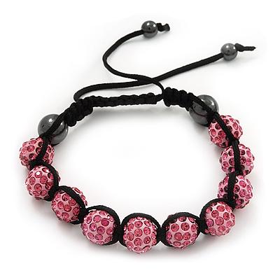 Pink Swarovski Crystal Balls Buddhist Bracelet - 10mm - Adjustable