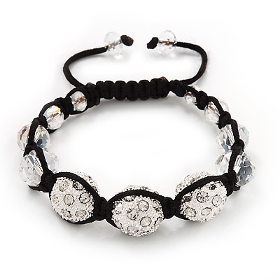 Unisex Swarovski Clear Crystal Balls Buddhist Bracelet - 13mm - Adjustable