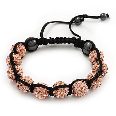 Peach Coloured Swarovski Crystal Balls Buddhist Bracelet - 10mm - Adjustable