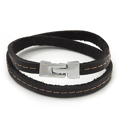 Unisex Dark Brown Leather Wristband - (for smaller wrist - 17cm length) - main view