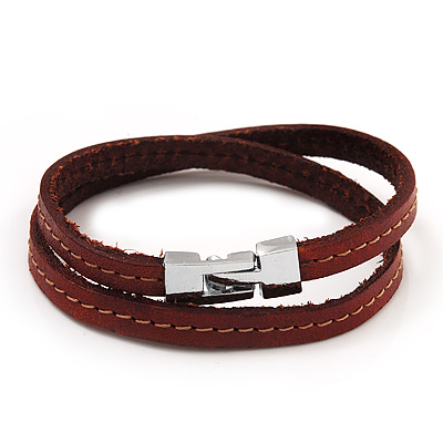 Unisex Brown Leather Wristband - (for smaller wrist - 17cm length) - main view