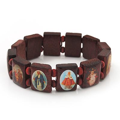 Brown Wooden Jesus Flex Bracelet - Up to 20cm Length