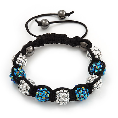 Unisex Blue/Metallic Silver Acrylic Jewelled Balls Buddhist Bracelet - 10mm - Adjustable