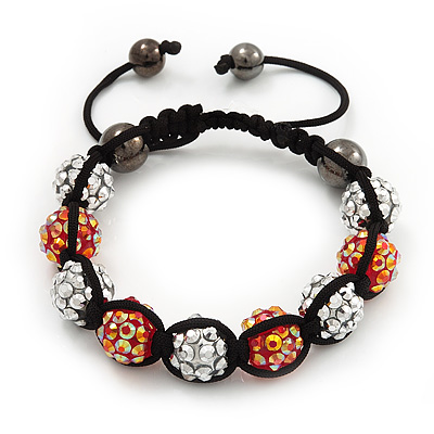 Unisex Orange/Metallic Silver Acrylic Jewelled Balls Buddhist Bracelet - 10mm - Adjustable