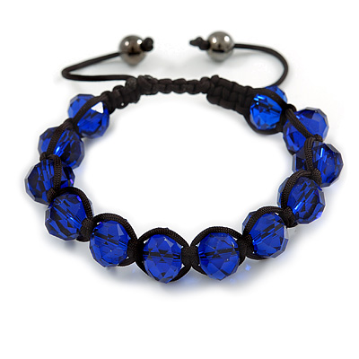 Unisex Montana Blue Glass Beads Buddhist Bracelet - 10mm - Adjustable