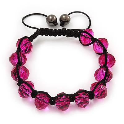 Unisex Fuchsia Glass Beads Buddhist Bracelet - 10mm - Adjustable