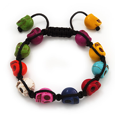 Unisex  Multicoloured Skull Shape Stone Beads Buddhist Bracelet - Adjustable - main view
