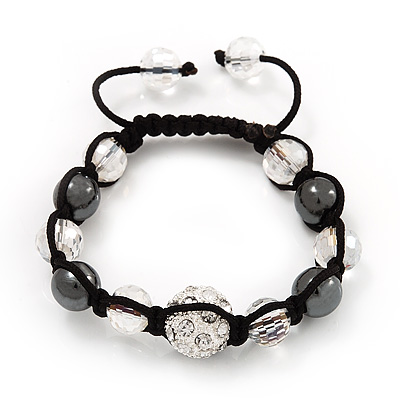 Smooth Round Hematite, Transparent & Clear Crystal Balls Swarovski Buddhist Bracelet - Adjustable