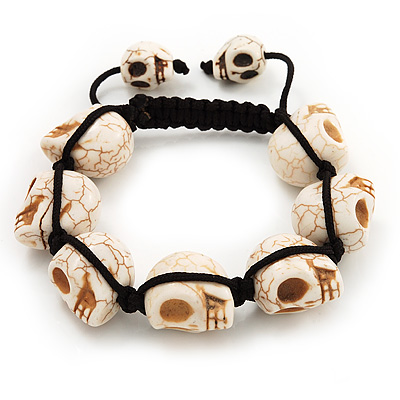 Uni Antique White Skull Shape Stone Beads Buddhist Bracelet 17mm Diameter Adjule