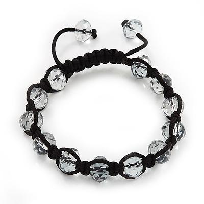 Unisex Transparent Light Grey Glass Beads Buddhist Bracelet - 9mm - Adjustable